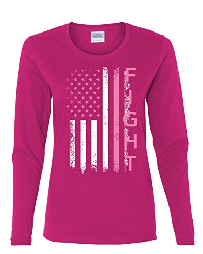 Fight Breast Cancer Long Sleeve Tee Pink Ribbon Awareness Pink XL