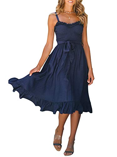 Miessial Women's Spaghetti Strap Ruffle Midi Dress Backless A Line Party Dress with Belt Navy Blue - A-line Smocked