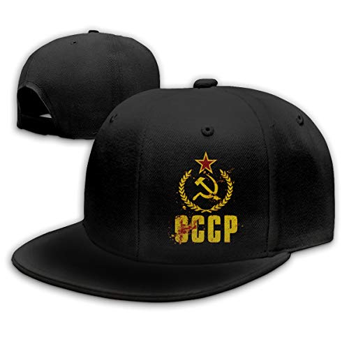 Adjustable Sports Plain Baseball Cap, Communist Hammer Vintage Flag Solid Twill Hat, Unisex