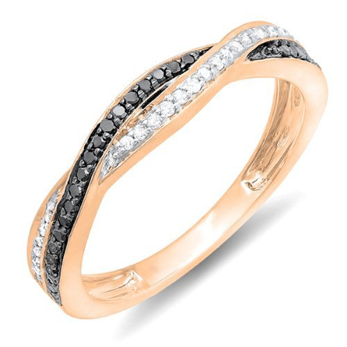 0.25 Carat (ctw) 10K Rose Gold Round Black & White Diamond Wedding Band Ring 1/4 CT (Size 7.5) - Band Round Diamond Engagement Ring