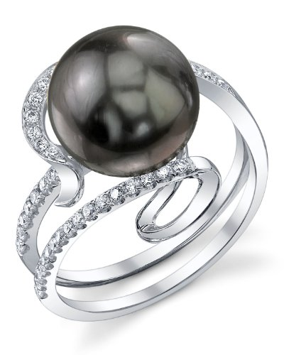 9mm Tahitian South Sea Cultured Pearl & Diamond Ivy Ring in 18K Gold (Tahitian 18k Gold Pearl Ring)