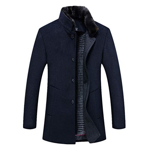 Icegrey Mens Gentle Band Collar Quilted Liner Single Breasted Wool Blend Pea Coat Jacket Grey XXS