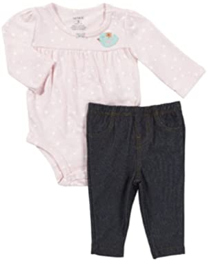 Baby Girls L/S Bodysuit w/ Jean Legging