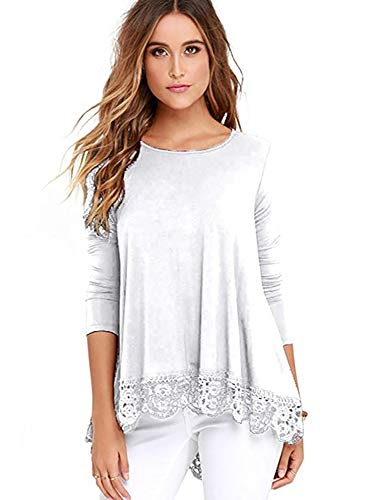 - iRealy Women Long Sleeve Tunic Tops Lace Hem T Shirt Dress Loose Fit O Neck Dressy Blouse White