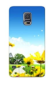 Design High Impact Dirt/shock Proof Case Cover For Galaxy S5 (butterflies Surrounding The Mansion )