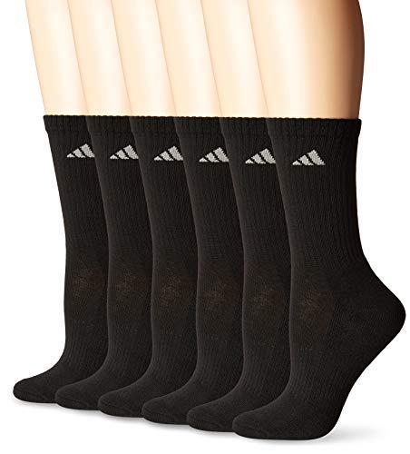adidas Women's Athletic Crew Sock (6-Pair), Black/Aluminum 2, Medium, (Shoe Size 5-10)
