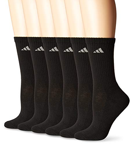 (adidas Women's Athletic Crew Socks (6-Pack), Black/Aluminum 2, One)