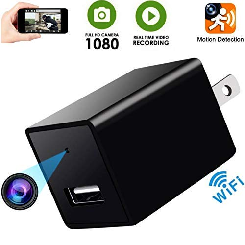 Hidden Spy Camera-1080P HD Baby Camera- Home Covert Surveillance Cam -WiFi Wall Charger Spy Camera- Mini USB Nanny Cam -Motion Detection Alert - Live Remote Video Viewing with Phone APP Covert Wall Clock Camera