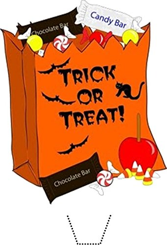 (12 x HALLOWEEN Trick or Treat Candy Bag Edible Standup Wafer Paper Cake Toppers (5 - 10 BUSINESS DAYS DELIVERY FROM UK))