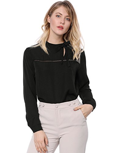 Allegra K Women's Bow-Tie Stand Collar Hollow Out Lace Panel Cut-Out Top L Black ()