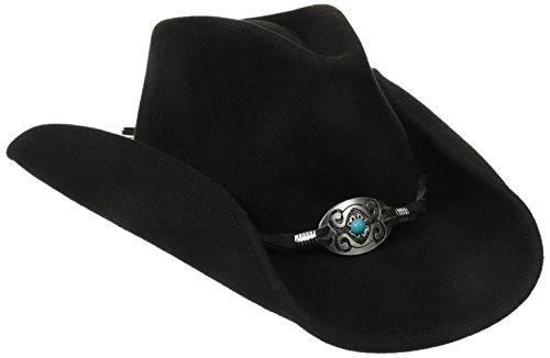 Scala Women's Wool Felt Pinched Western Hat with Braided Leather Trim, Black, One Size