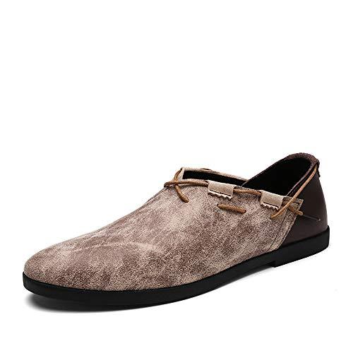 Colore antiscivolo Shoes Soft Mens Dimensione mocassini Leathe Flat Cachi Qiusa EU Fashion su Soft Driving 41 Marrone Slip q1H7ngU