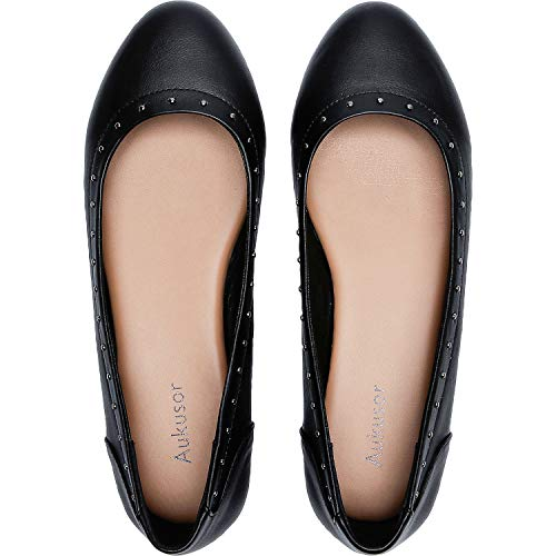 Aukusor Women's Wide Width Flat Shoes - Cozy Pointy Toe PU Leather Slip On Ballet Flat.(Black 181171,8.5W) ()
