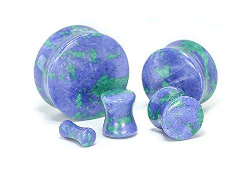 Painful Pleasures Azurite Stone Double Flare Plugs 10g - 1
