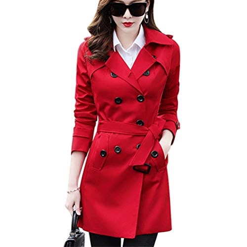 (Women Slim Fit Lapel Mid-Length Trench Coat Jacket Double Breasted Outwear with Belt S-5XL Bright Red)