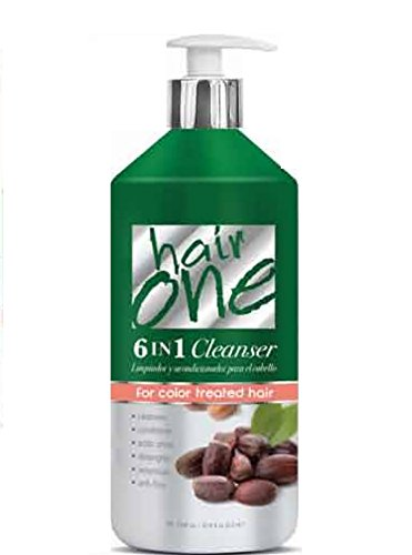 Hair One 6 in 1 Cleanser for Color Treated Hair - Jojoba Oil 33.8 oz. (Pack of 6) by Hair One