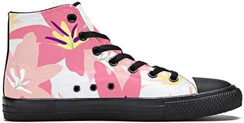TIZORAX DEYYA Hoge Top Sneakers voor Mannen Blossomin Roze Madeliefje afdrukken Mode Lace up Canvas Schoenen Casual wandelen schoen