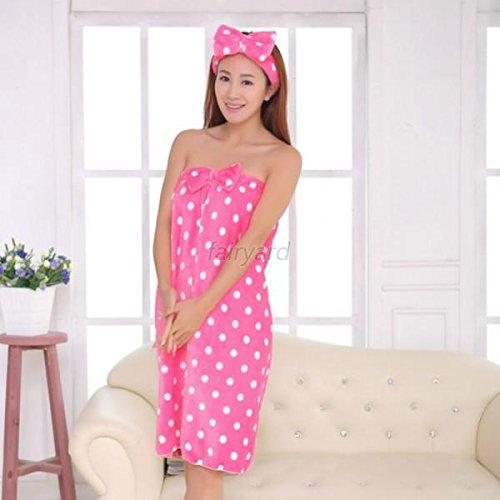 UNAKIM--Microfiber Bow Headband + Bath Towel Shower Bath Womens SPA Wrap Body Absorbent