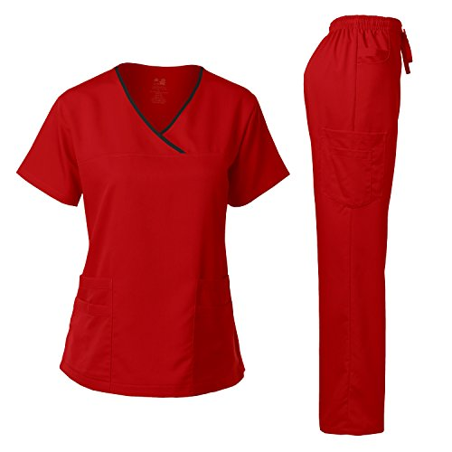 Medical Uniform Junior Style Contrast Binding Wrap Set RED M