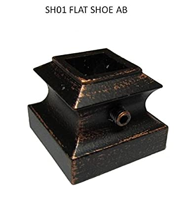 """(Pack of 10) Antique Bronze (AB) 1/2"""" Flat Shoe with set screw for Metal Balusters Iron stair parts Metal spindles Iron balusters basket twist knuckle scroll shoe SH01 AB"""
