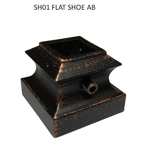 """Antique Bronze(AB) 1/2"""" x 44"""" Iron Stair Parts Metal spindles Iron balusters Basket Twist Knuckle Scroll Shoe ((Pack of 10) Antique Bronze (AB) 1/2"""" Flat Shoe with Set Screw)"""