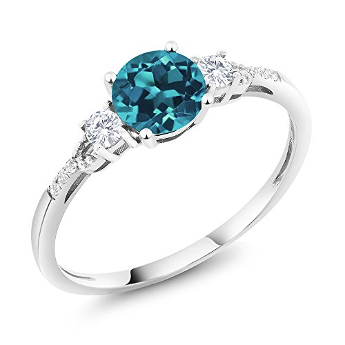 10K White Gold London Blue Topaz White Created Sapphire and Diamond Accent 3-Stone Engagement Ring 0.90 cttw (Size 7)