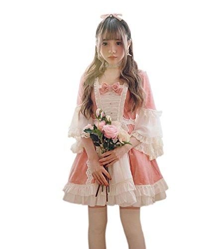 【Cospland】ロリータ服 ワンピース コスプレ 貴族風 レディース 森ガール Aライン 短袖 (L  ピンク)