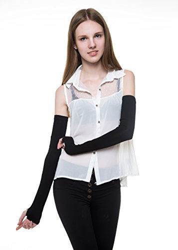 Women Stretchy Long Sleeve Fingerless Gloves, Suitable for Dress Matching, Sun Protection, Halloween, Dressing Party. (Black)