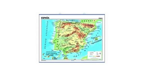 Mapa mural España impreso a doble cara Físico / Político ...