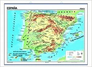 Mapa mural España impreso a doble cara Físico / Político envarillado, con colgadores y tubo 140 x 100 cm Cartografía: Amazon.es: Edigol Ediciones: Libros