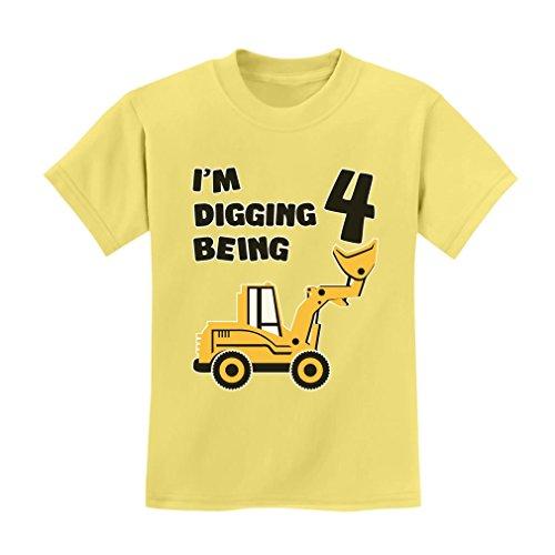 - TeeStars - 4th Birthday - Bulldozer Construction Party Toddler Kids T-Shirt X-Small Yellow Haze