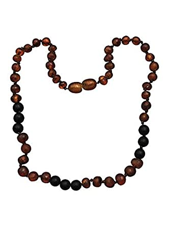 Baltic Amber Necklace with Shungite For Kids- 15 inch- Immune System Boost  - Blocks EMF Radiation