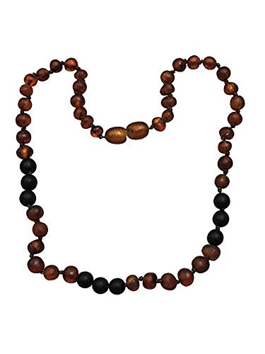 Baltic Amber Necklace with Shungite For Kids- 15 inch- Immune System Boost - Blocks EMF Radiation. For Children ages 4-15