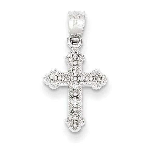 Icecarats Créatrice De Bijoux Or Blanc 14K Diamant Pendentif Croix