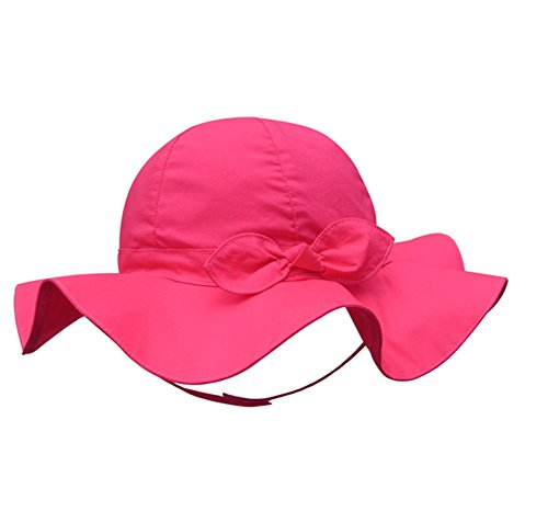 Spring / Summer Cotton Baby Girls 's Outdoor Bowknot Sun Hat /Beach Hat (20.9 in(53cm)/5-7 years old, Rose Red) (5 Old Rose)