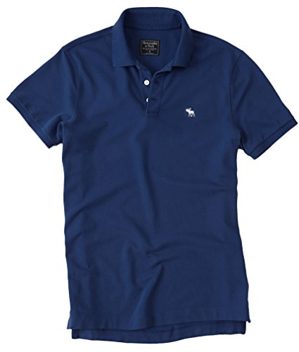 Abercrombie Mens Stretch Signature Fit Icon Polo Shirt Tee  Small  Dark Blue