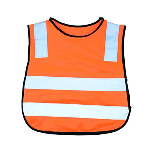 Tinksky Reflective Safety Vest Bright Color Children Safety Vest for Kids Outdoor Christmas Birthday Gift for Children (Orange)