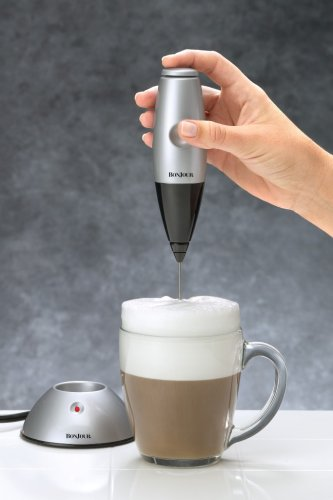BonJour Coffee Rechargeable ''Primo Latte'' Hand-Held Beverage Whisk / Milk Frother, Silver