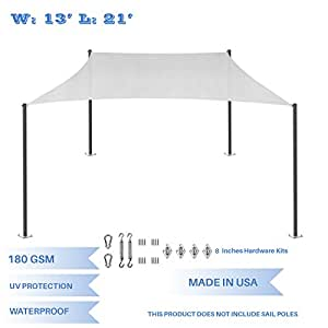 E&K Sunrise 13' x 21' Waterproof Sun Shade Sail with Stainless Steel Hardware Kit-Light Grey Rectangle UV Block Perfect for Canopy Outdoor Garden Backyard-Customized Sizes Available