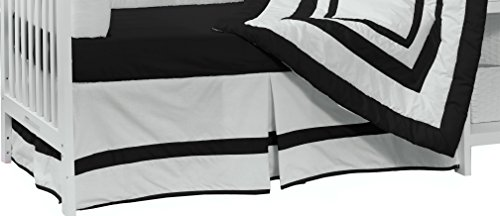 Baby Doll Bedding Modern Hotel Style Nuetral Crib Skirt/ Dust Ruffle, Black