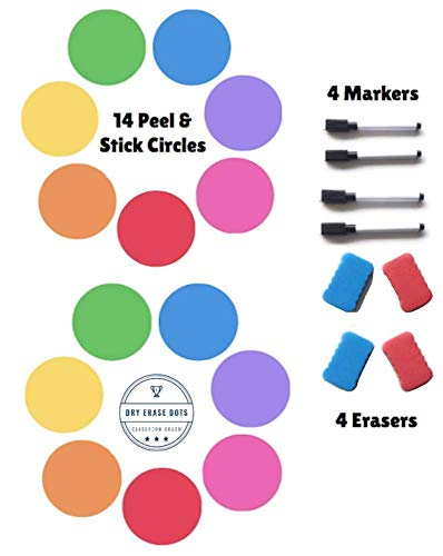 Vinyl Pet (Table Dots Dry Erase Circles by Classroom Coach PET Vinyl for Easy Erasing - Set of 14 Multicolor Circles Decals for Tables, Whiteboard, or Walls! Great Teacher Classroom Supplies (14))