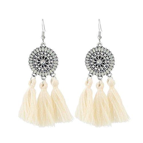 Earrings for Women Girls, Paymenow 2018 New Womens Bohemian Tassel Earring Hook Dangle Ethnic Earrings (White)