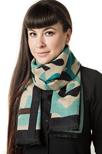 Mio Marino Winter Cashmere Feel Women Scarf, 100% Cotton Fashion Scarves, In Elegant Gift Box - Cameo Black Beige Turquoise