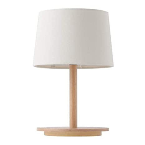 f1de1d63bc62 CCSUN Table lamp Wood Base Fabric lamp Shade, E26 Simple Reading lamp  Contemporary Minimalist Lighting Design for Bedroom Study Desk-White - -  Amazon.com