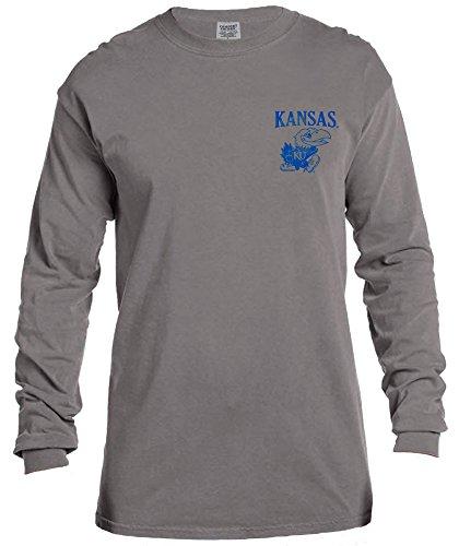 NCAA Kansas Jayhawks Vintage Poster Long Sleeve Comfort Color Tee, Medium,Grey
