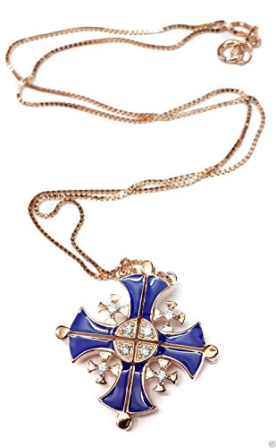 Silver 925 Opens Jerusalem Cross Plated 18 k Gold Pendant Necklace Crystallized Elements 1'' by Nazareth Store