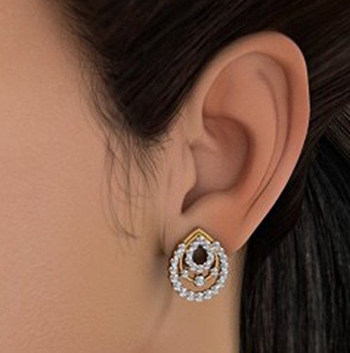 Or jaune 18 K 1,07 CT TW White-diamond (IJ | SI) Boucles d'oreille à tige