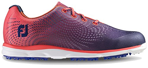 FootJoy Empower Spikeless Golf Shoes Closeout Women Navy/Papaya Medium 8.5