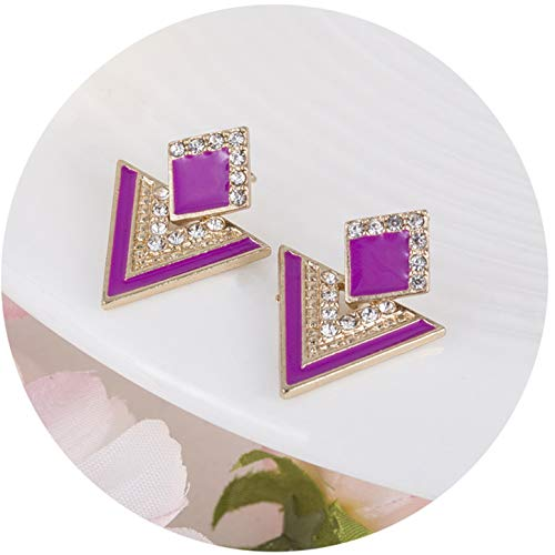Olive Tayl 2018 Fashion Colorful Alloy Earings Geometric Pendant Triangle Earring Purple Gold Earrings WOM
