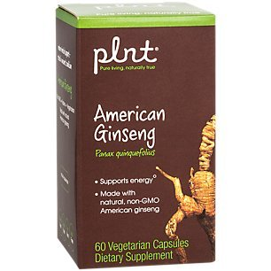 plnt American Ginseng Made with Natural, NonGMO American Ginseng Supports Energy, 400mg per Serving, Gluten Free Herbal Supplement (60 Veggie Capsules)